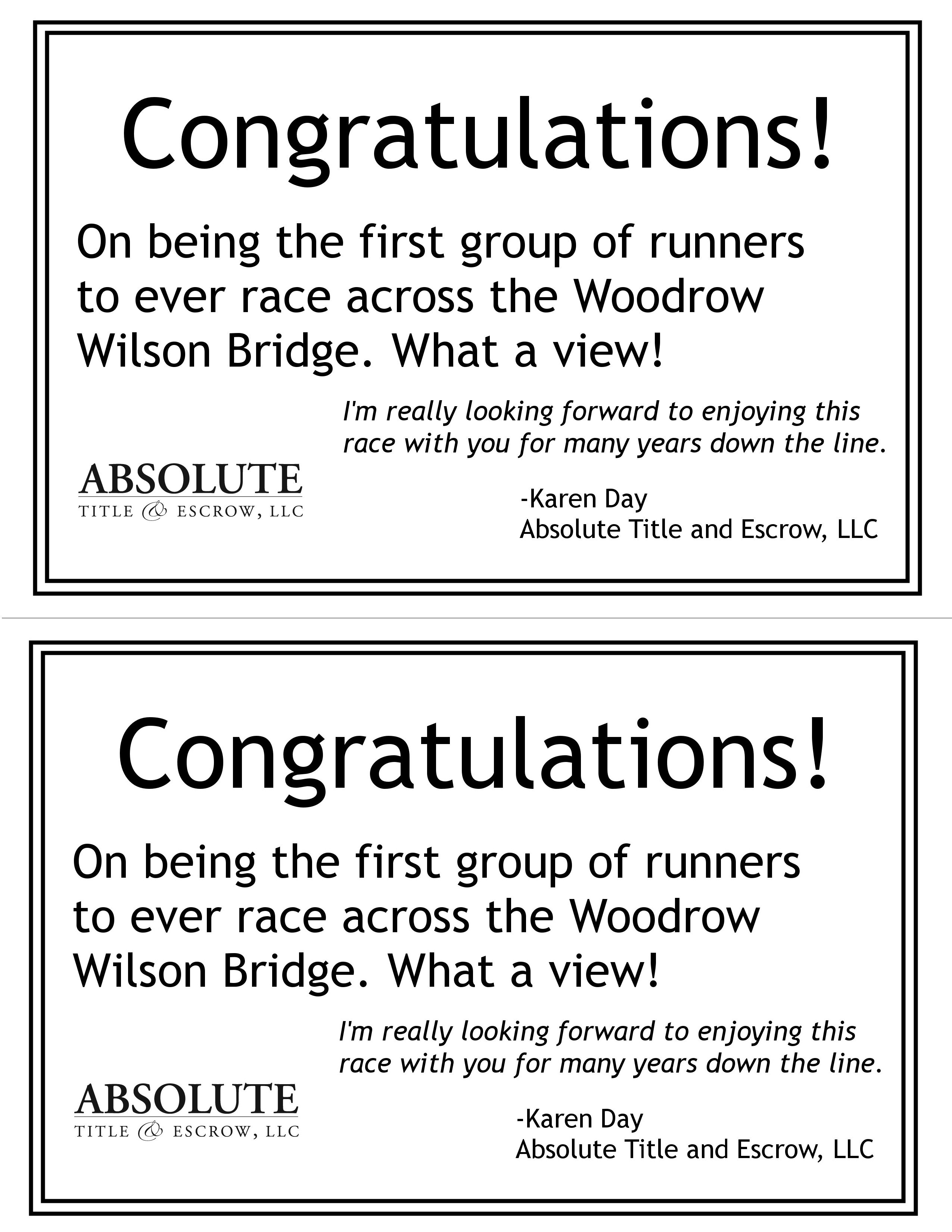 Flyer for the Woodrow Wilson half marathon